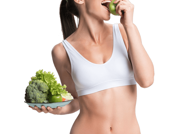 woman eating vegetables visual